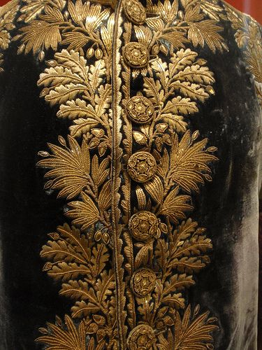 Elaborate gold embroidery on high-ranking French officer's uniform