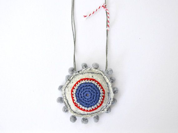 Boho long necklace pom pom necklace textile jewelry by Loulalalou