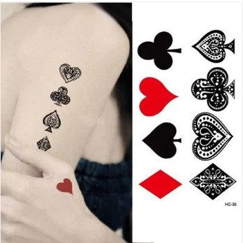 Waterproof Temporary Tattoo -------Poker----------Set of Eight