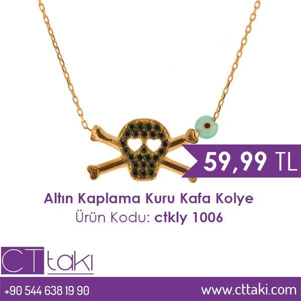 Altın kaplama kuru kafa kolye. 59,99 TL fiyatı ile CT Takı'da. #altın #kaplama #kuru #kafa #kolye #takı #gümüş #cttakı