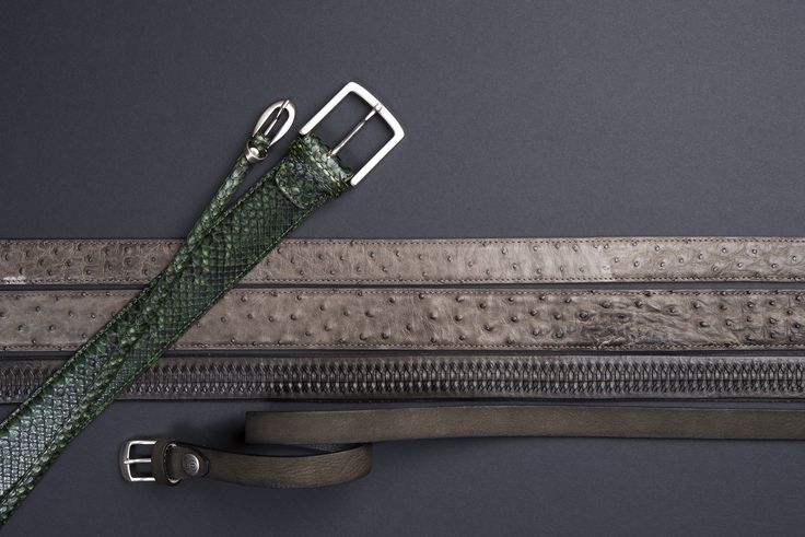 Buckles & Belts - Belt/Gürtel - New Autumn Collection 2016 - Pitone - Phyton leather - Struzzo - Ostrich - Torean - Nubuk - verde - green - fango - brown - Design in SWITZERLAND made in ITALY https://www.facebook.com/BucklesBelts
