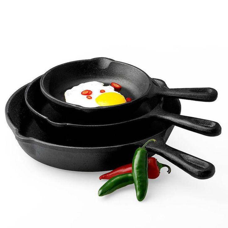 Cast Iron 3 Piece Skillet Set Stove Oven Fry Pans Cookware Pots Pre-seasoned