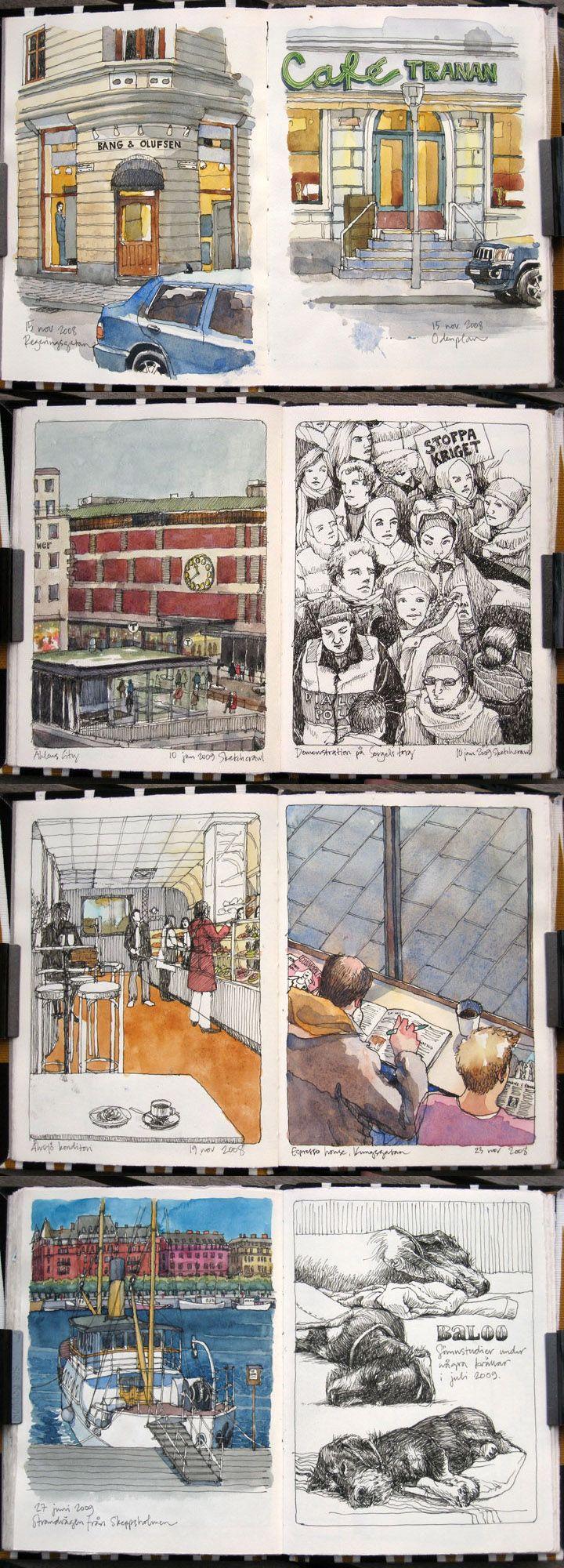 Nina Johansson   #sketchbook    http://www.ninajohansson.se/sketchbooks/patterned-book-nov-2008/