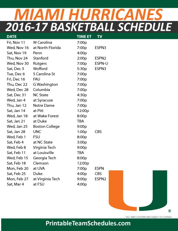 Miami Hurricanes Basketball Schedule 2016-17. Print Here - http://printableteamschedules.com/NCAA/miamihurricanesbasketball.php
