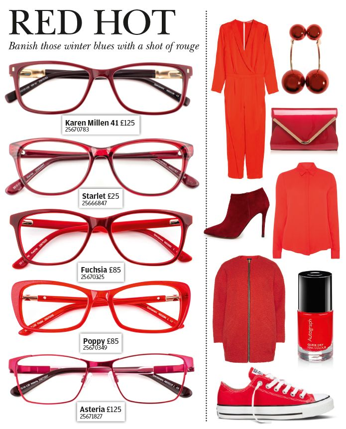 Red hot - banish the winter blues with a pair of bright red specs