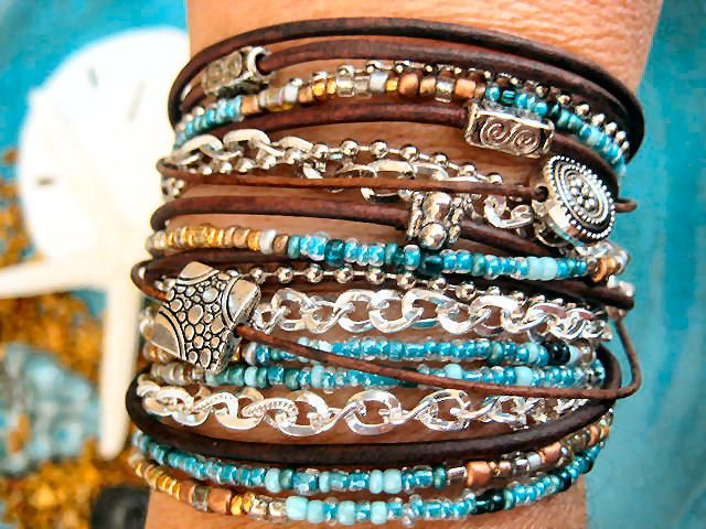 Boho Chic Endless Leather Wrap Beaded Bracelet with Silver Accents...  Tophatter Auction