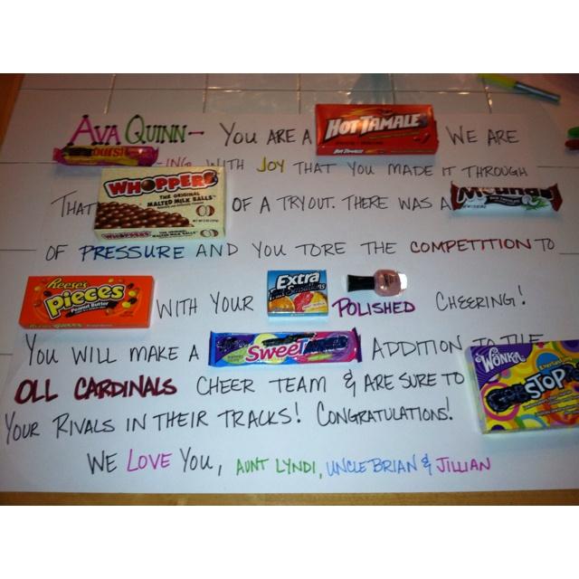 Congratulations! You made the team! - Candygram   Cheer ...