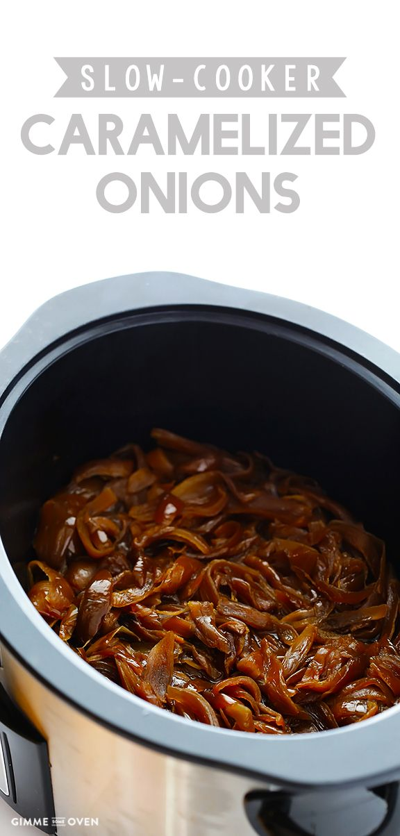 This slow cooker caramelized onions recipe couldn't be easier with just 2 main ingredients. | gimmesomeoven.com