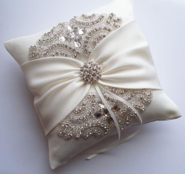 Wedding Ring Pillow Cushion With Rhinestone Detail