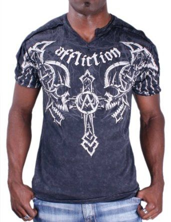 Amazon.com: Affliction Vantage Men's Skull Tee T-Shirt Short Sleeve Size XL