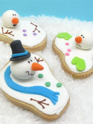 This untraditional take on a snowman turns an otherwise odd-shaped cookie into a fun treat.