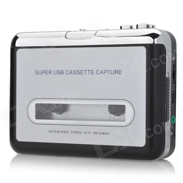 BFQ-02 USB Cassette Capture - Silver + Black (2 x AA) - Free Shipping - DealExtreme