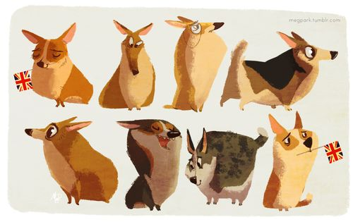 Adore! | Corgi- the style of this artwork is adorable. Love the personality
