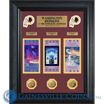 Washington Redskins Super Bowl Ticket and Game Coin Collectible Frame http://www.gainesvillecoins.com/submenu/536/sports-memorabilia.aspx