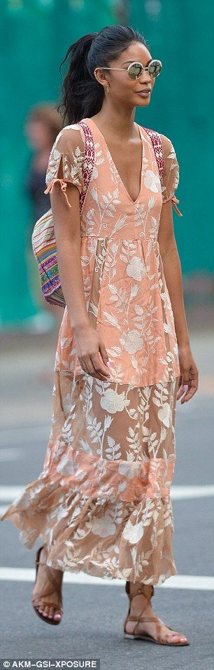 Look peachy in Chanel's dress by For Love and Lemons. Click 'Visit' to buy now. #DailyMail
