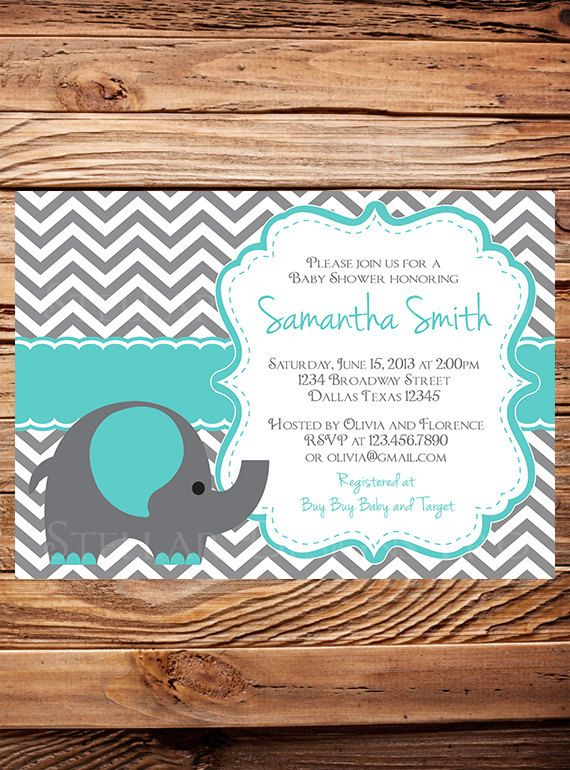 Elephant Baby Shower Invitation, Teal, Baby Shower Elephant Invite, BOY, Girl, Gray, Green, Yellow, Purple, blue, digital (Item 5061) on Etsy, $21.00