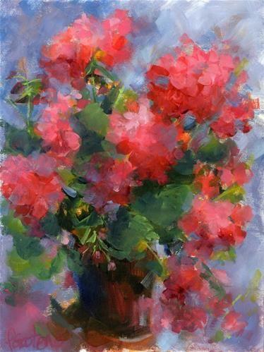 """Daily Paintworks - """"Geranium Portrait"""" - Original Fine Art for Sale - © Pamela Gatens"""