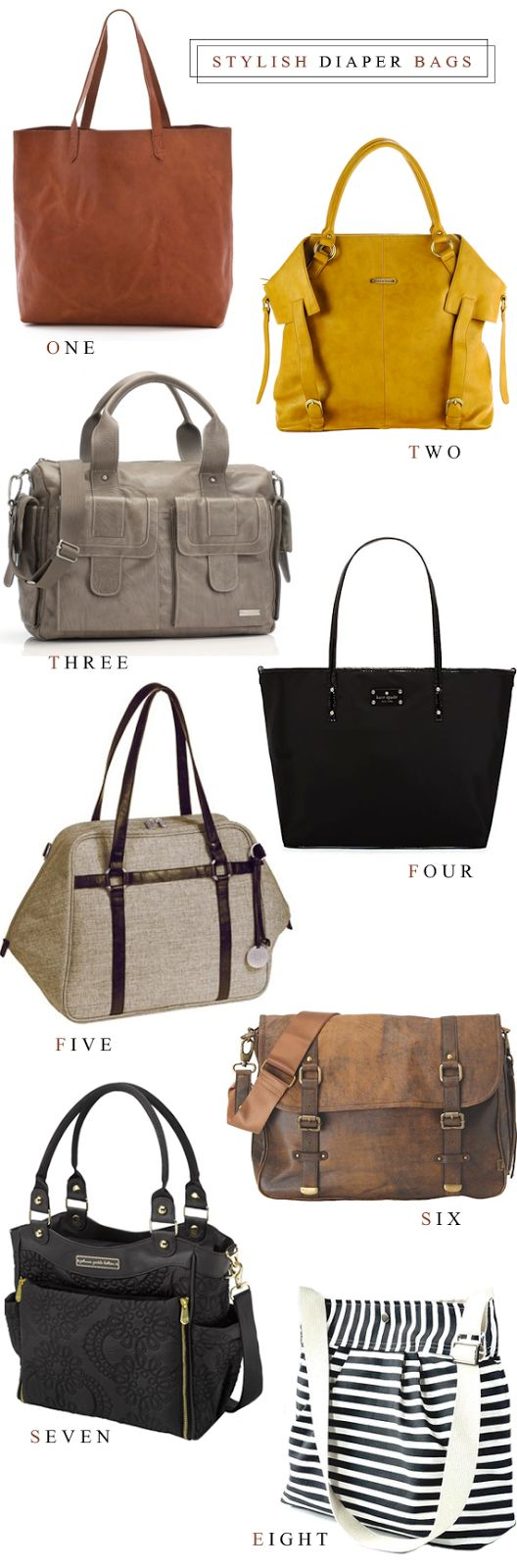 8 Stylish Diaper Bags // Bubby and Bean  Keep seeing this pinned with the wrong link. This links back to the blog with sources for all the bags.