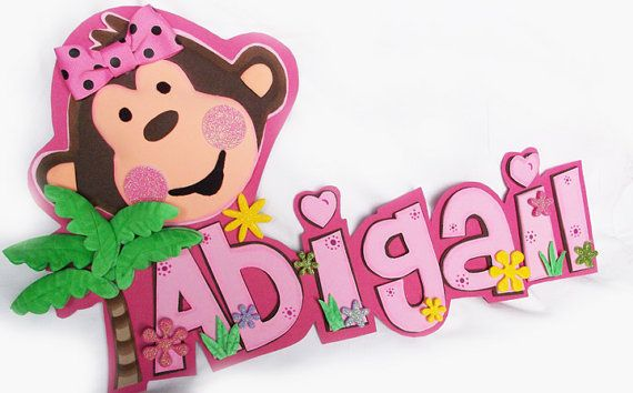 3D Foamie Wall Decor  Monkey Girl  Personalized  by FofuchasDolls, $20.00