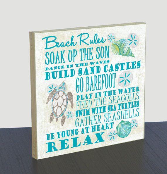 Artist Shanni Welsh's Beach Rules wood panel art print. Beach rules poster. Nautical home décor.