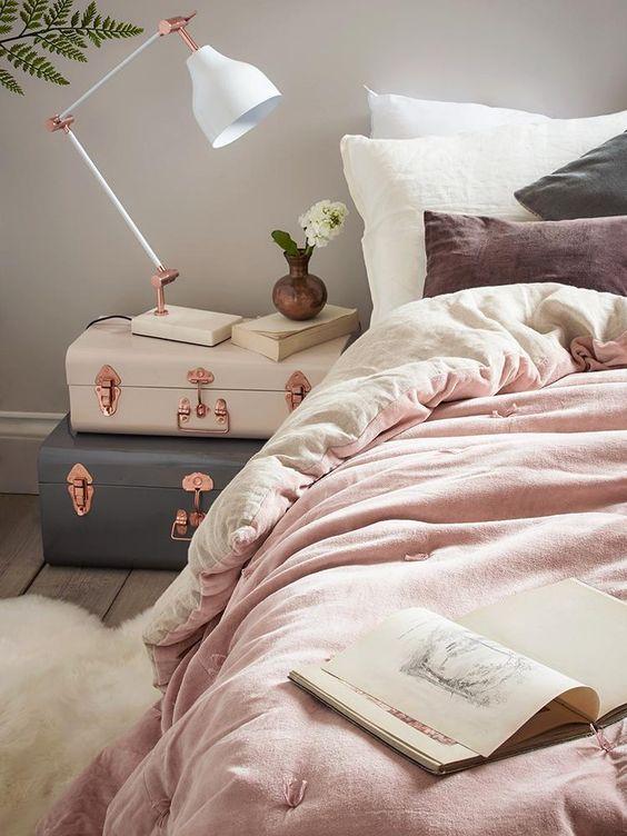 blush Pink Bedroom Sheets amd copper hardware trunks