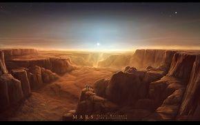 Обои марс, поверхность, каньон