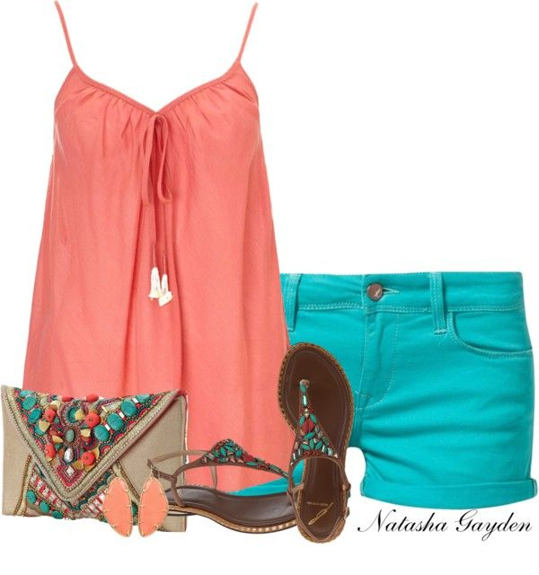 Summer Outfit at first the color combo seems odd but the the accessories really tie it together