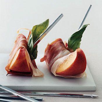Peaches with Serrano Ham and Basil Recipe  at Epicurious.com