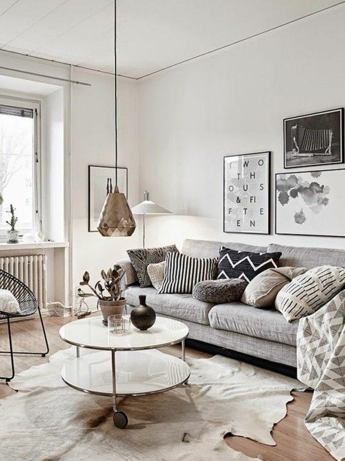 salon beige et canap gris tapis en peau danimal canap gris - Salon Design Sol Gris