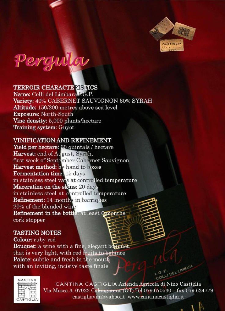 Pergula Дегустация отмечает Цвет: рубиново-красный Нос: вино с ароматами прекрасно, элегантный, очень легкие, с красными плодами в контрапункт Вкус: он показывает тонкий, свежий, привлекательный, и отношение к конечный вкус