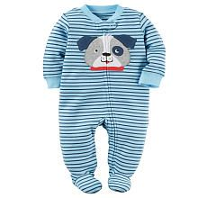 Carters Blue Striped Bulldog Applique Zip Up Footie