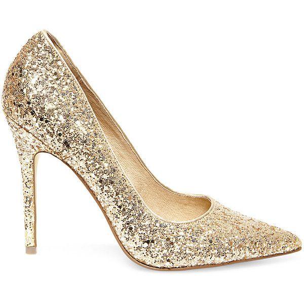 Steve Madden Women's Atlantyc Pumps Shoes Gold Glitter found on Polyvore