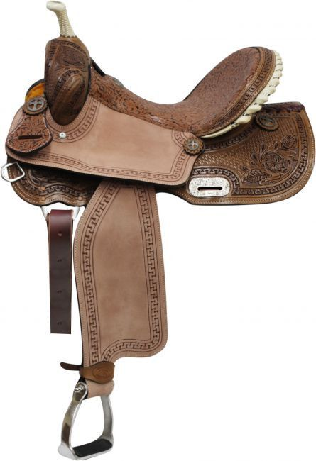 """14"""" 15"""" 16"""" Double T Barrel Style Saddle with Brown Filigree Seet and Tooling."""