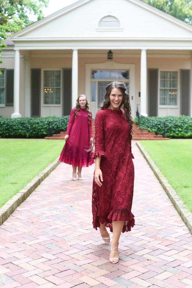Modest cranberry lace Hamptons Dinner Dress. Modest fashion, bridesmaids' dresses, ruffles, lace. www.daintyjewells.com