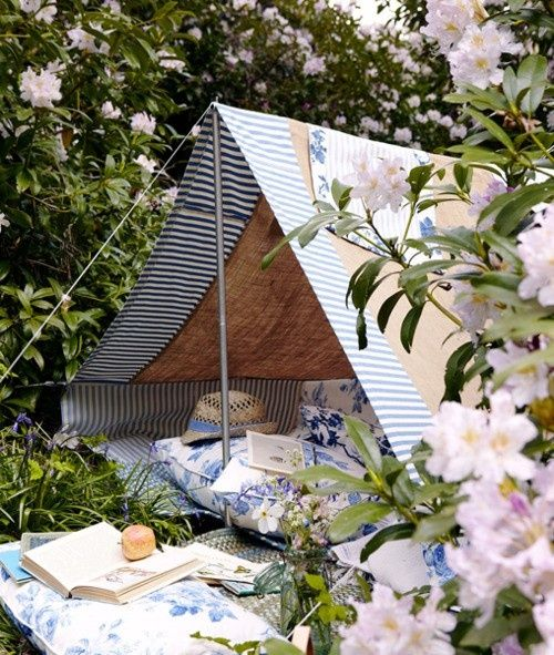The perfect backyard getaway tent for adults!  What a perfect reading spot, or date night place, close but away...