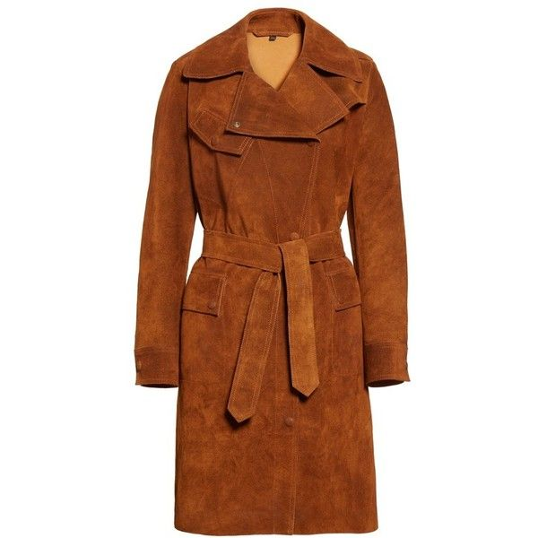 Women's Belstaff Airdale Suede Coat ($2,395) ❤ liked on Polyvore featuring outerwear, coats, belstaff, suede trench coats, brown suede coat, vintage style coats and brown coat