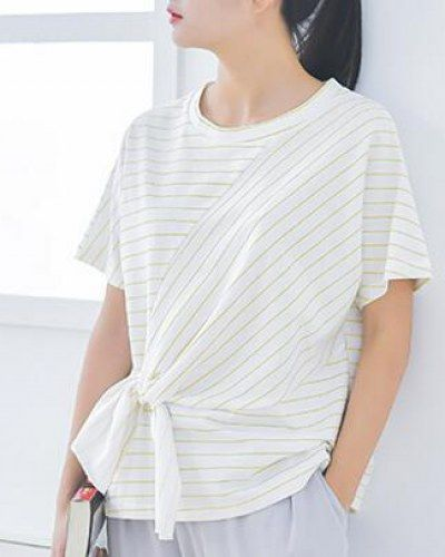 Black and white striped t shirt for teenage girls batwing sleeve tie front tops