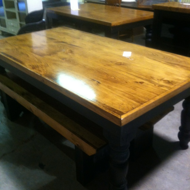 Black farm table comes with 2 benches country for T table for 99