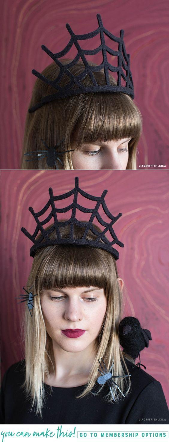 Felt Spider Web Crown - www.liagriffith.com #diyhalloween #diyhalloweencostume #diycostume #diyinspiration #diyidea #diyprojects #felt #feltcraft #feltcrafting #feltcute #madewithlia