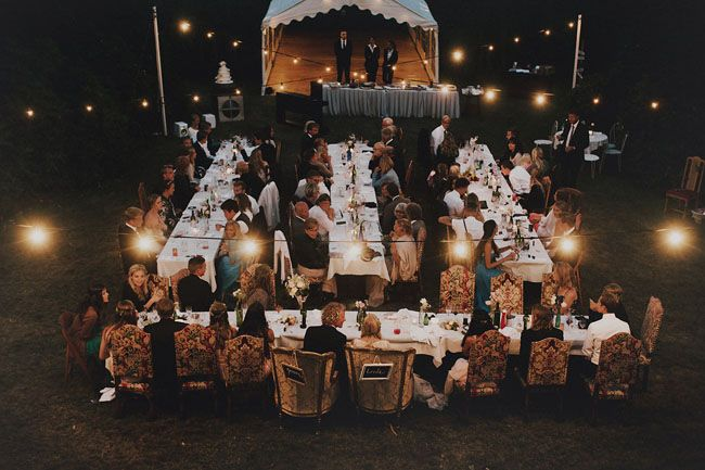 This is the ideal set up I would have for the reception, plus this bistro lighting adds an adorable and intimate back yard vibe!