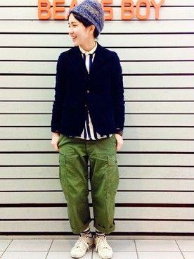 ビームス ボーイ 梅田|モリグチナオさんのカーゴパンツ「TOYO×BEAMS BOY / ポプリン アーミー(BEAMS BOY|ビームスボーイ)」を使ったコーディネート