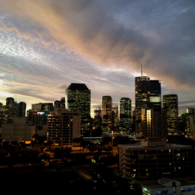 Brisbane city at sunset