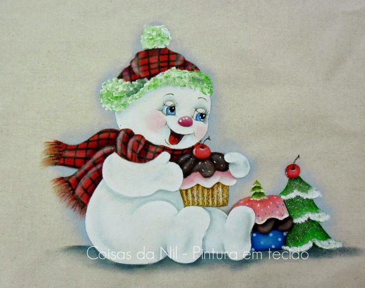 pintura em tecido para o natal boneco de neve com cupcakes