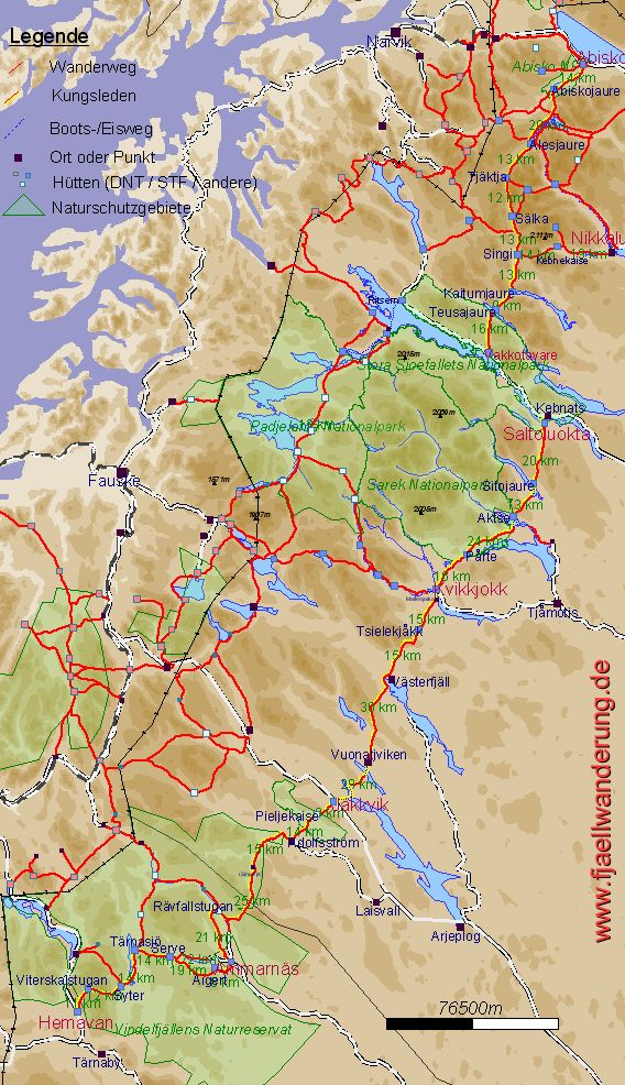 Karte über den Kungsleden