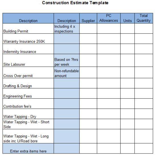 microsoft office estimate template