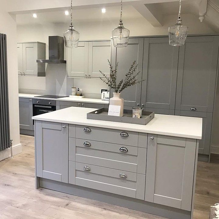 On Trend Grey Gives Shaker Cabinets A Modern Twist Complement Your Colour Scheme With Open Plan Kitchen Living Room Grey Kitchen Designs Modern Shaker Kitchen