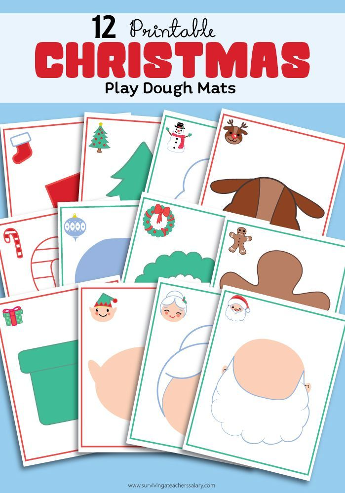 12 free printable Christmas Holiday play dough mats - perfect for toddler & preschool sensory play! Just print, laminate and play! I LOVE how creative these shadows are to fill in your favorite with your favorite Play-Doh colors!