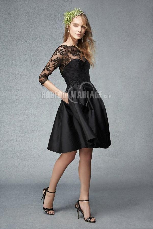 Manches mi-longue robe demoiselle d'honneur col haut satin dentelle [#ROBE209939] - robedumariage.com