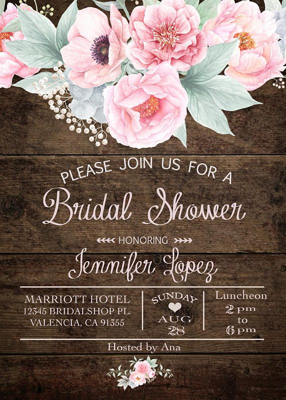 Fl Bridal Shower Invitation Boho Chic