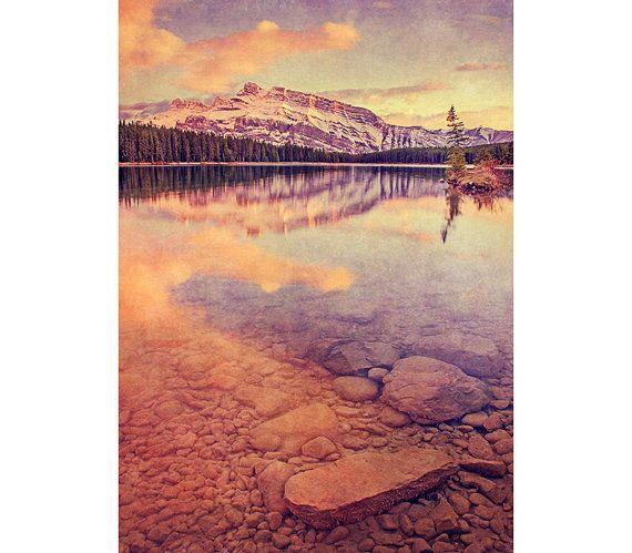 Mountain Photography - Vintage Decor, Banff, Landscape Image, Blue, Pink, Sunset, Rustic, Dreamy Texture, Warm Colors, Nature, Mountain Lake